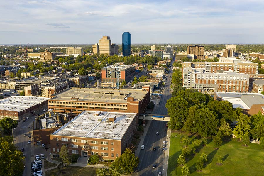 Athens OH - Aerial View of Downtown Athens Ohio